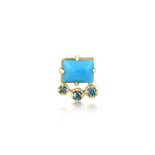 Blue Diamond & Turquoise 14K Yellow Gold Geometric Single Stud