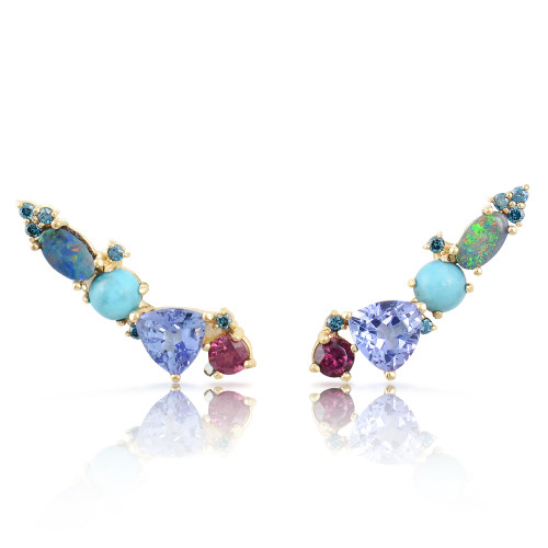 Blue Diamond 14K Yellow Gold Opal & Tanzanite Diamond Ear Climbers