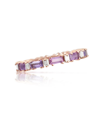White Diamonds 14K Baguette Purple Pink Sapphire Eternity Band