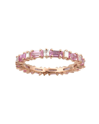 White Diamond 14K Baguette Pink Sapphire Eternity Band