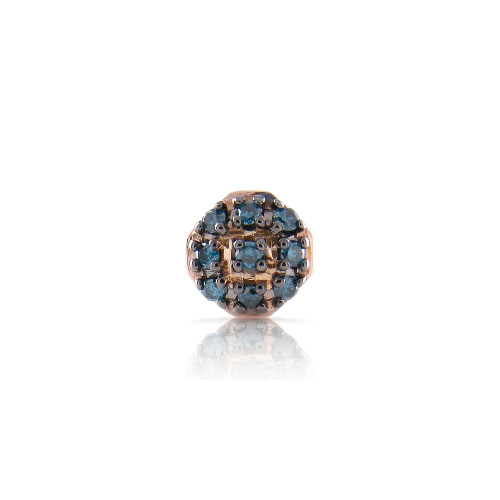 "Blue Diamond 14K Rose Gold ""Pillow"" Charm"