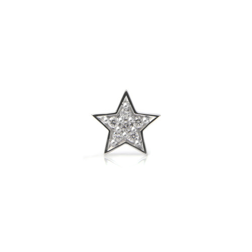 White Diamond 14K White Gold Star Charm