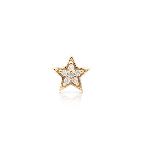 White Diamond 14K Yellow Gold Star Charm