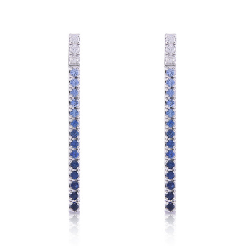 White Diamonds & Blue Sapphire 14K Straight Bar Dangle Earrings