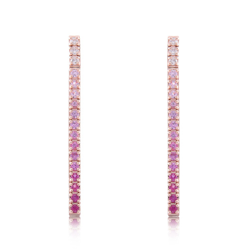 White Diamond, Pink Sapphire, & Ruby 14K Straight Bar Dangle Earrings