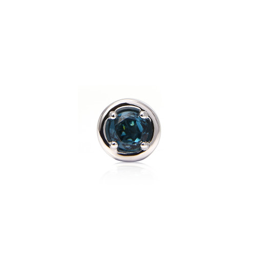 London Blue Topaz 14K White Gold Round Charm with Blue Diamond