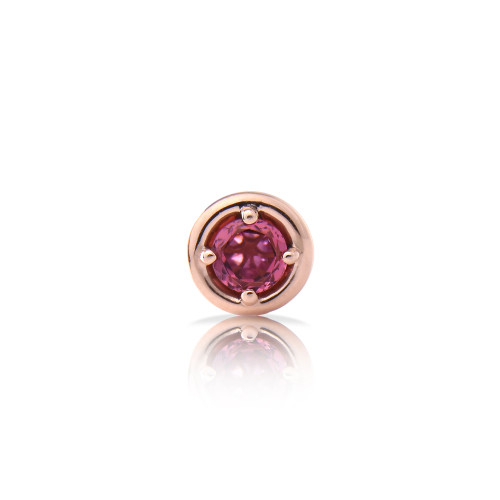 Tourmaline 14K Rose Gold Round Charm with White Diamond