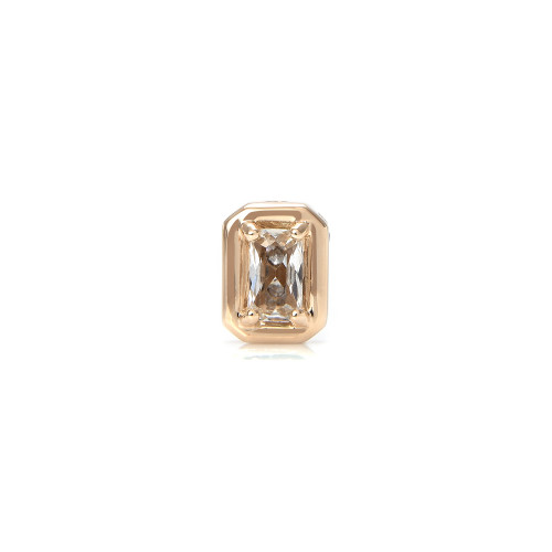 White Topaz 14K Yellow Gold Emerald-Cut Charm with White Diamond