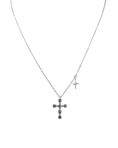 Blue Rose-Cut Brilliant Diamond 14K White Gold Cross Necklace with Small Cross Charm