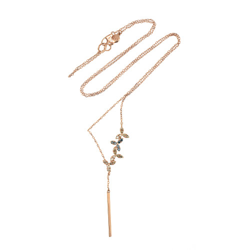 Champagne and Blue Diamonds 14K Rose Gold Flower Style Lariat