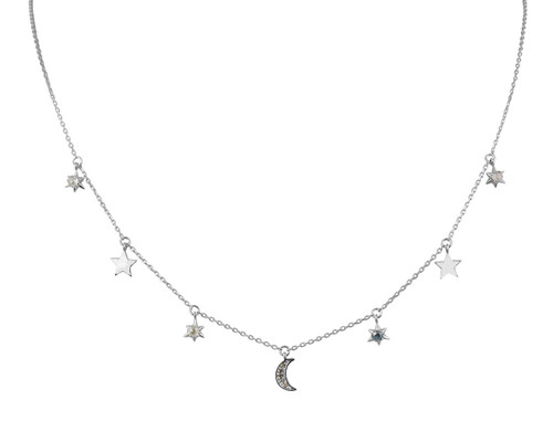 Celestial Blue and Grey Diamonds 14K White Gold Charm Necklace