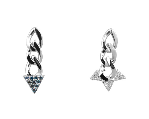 Blue and White Diamonds 14K White Gold Mis-Matched Spike Chain Post Earrings