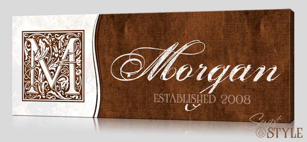Personalized last name wall art with monogram