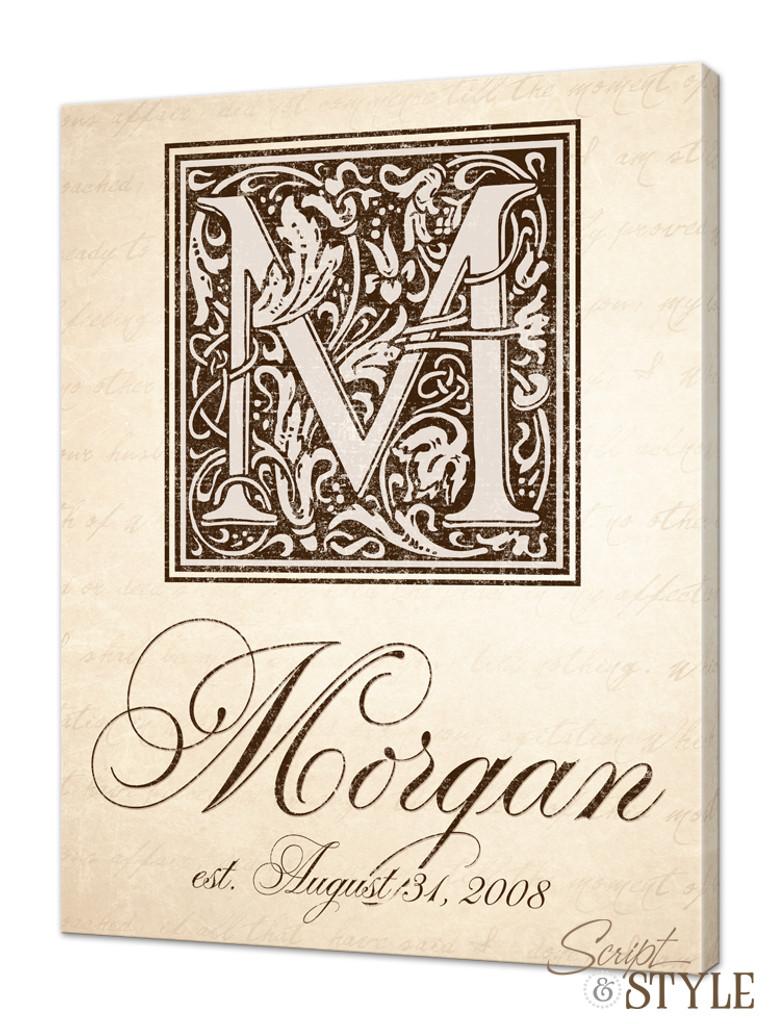 Family name canvas with monogram, Cream