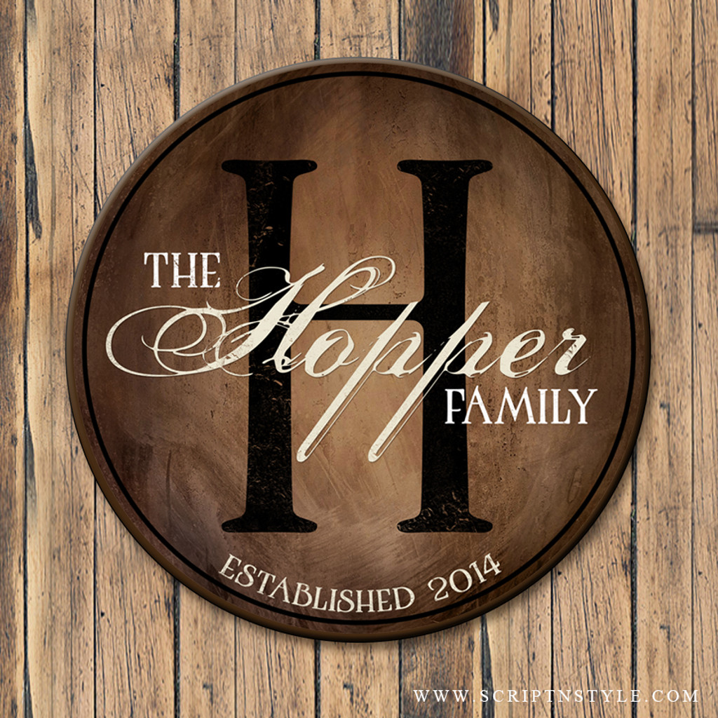 wood family established sign