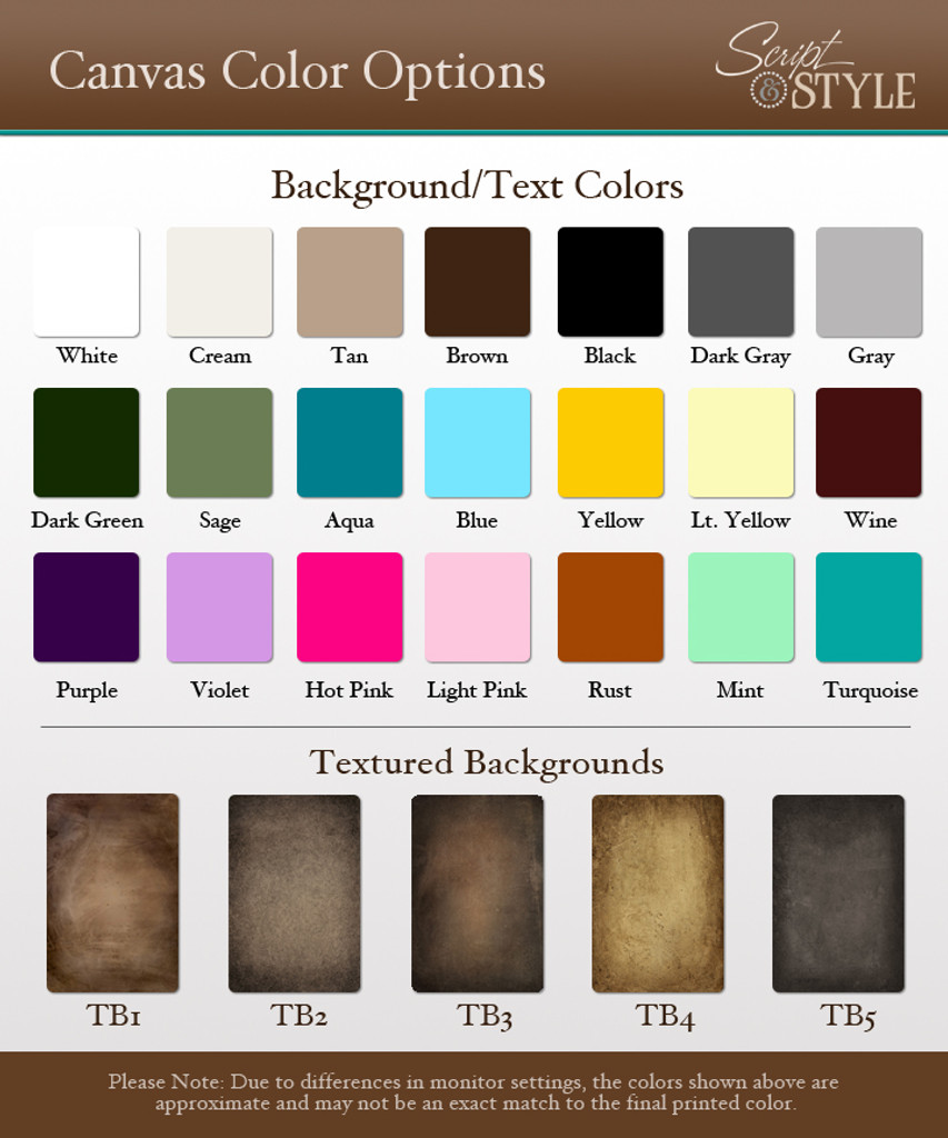 Canvas color options