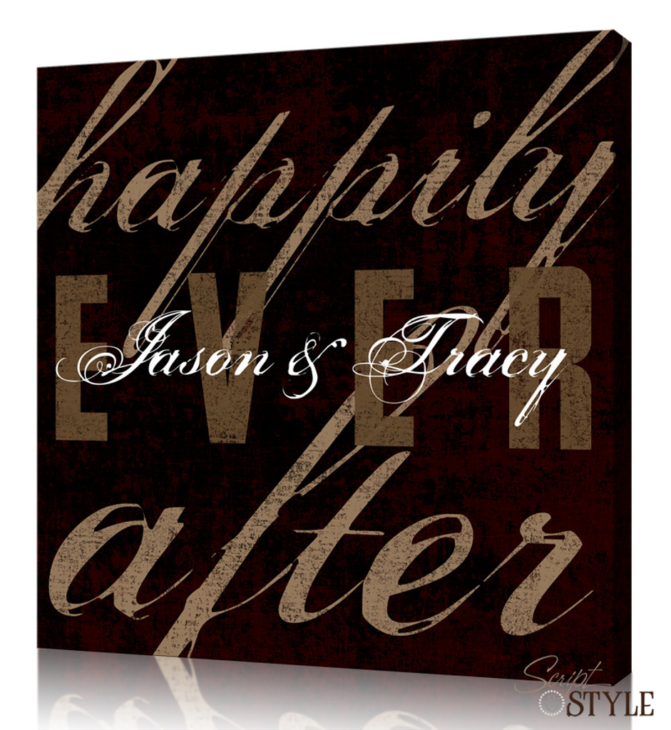 Personalized Happily Ever After Canvas Wall Art, Wine