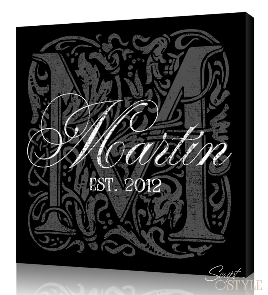 Personalized Monogram Canvas Art, Black