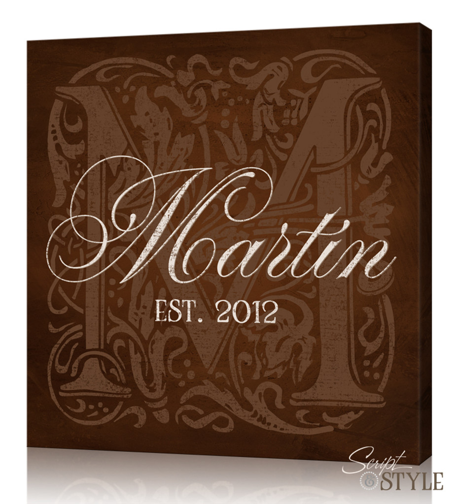 Personalized Monogram Canvas Art, Brown