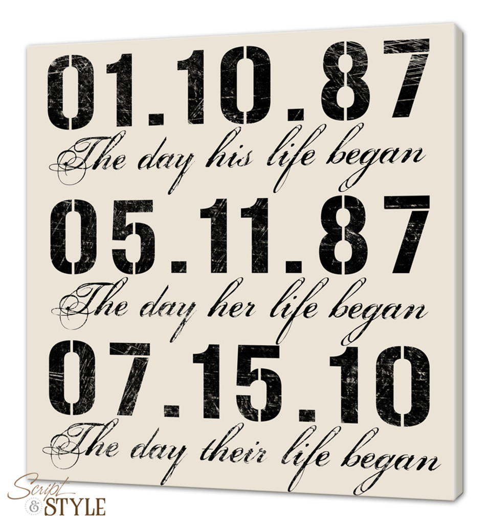 Personalized Special Dates Canvas Wall Art With Birthdates Wedding