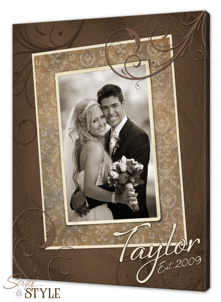 Personalized last name canvas with photograph