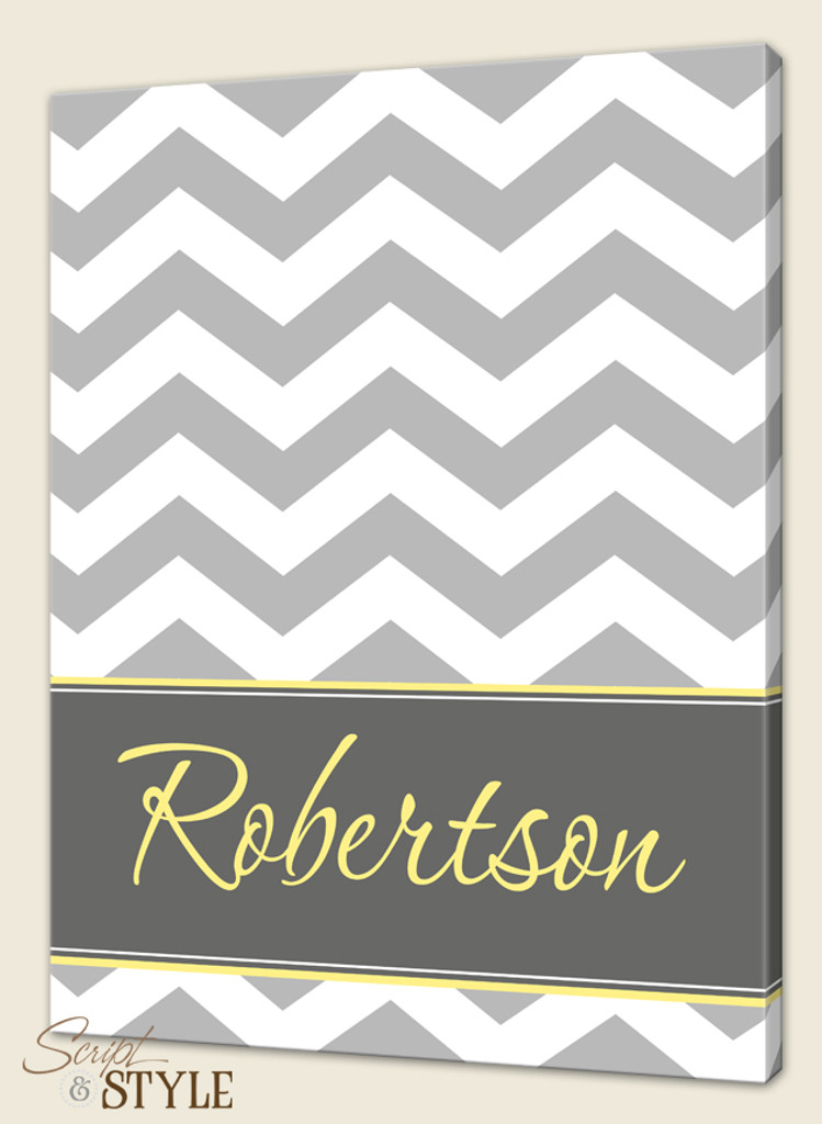 Personalized chevron canvas art, Gray/White