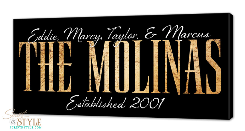 Personalized family name canvas, Black