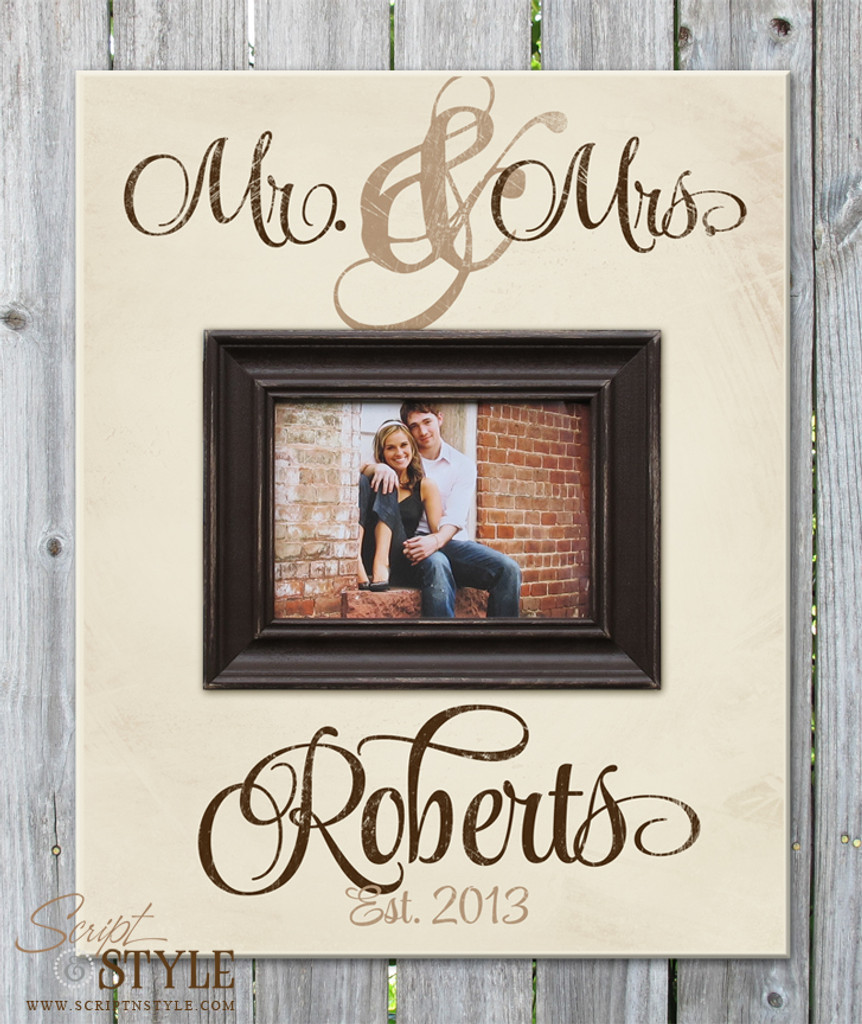 Personalized Mr. & Mrs. picture frame, Cream