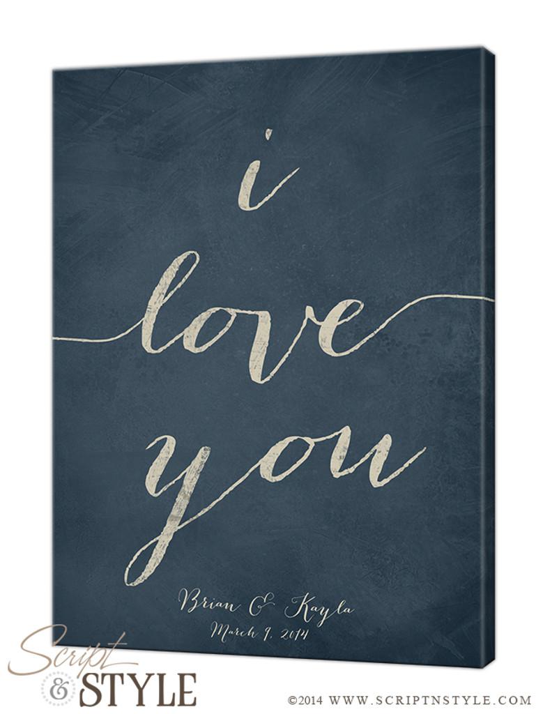 Personalized i love you canvas/Slate Blue-Cream