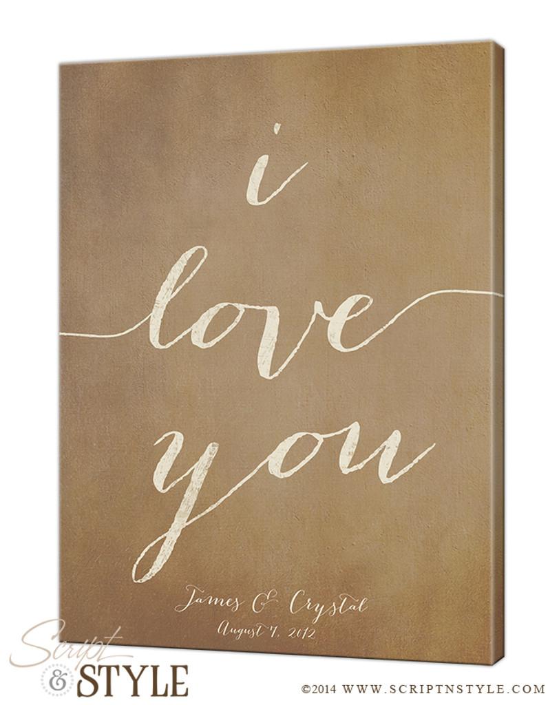 Personalized i love you canvas/Tan-Cream