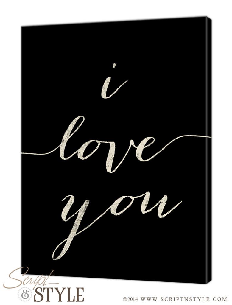 Personalized i love you canvas/Black-Cream
