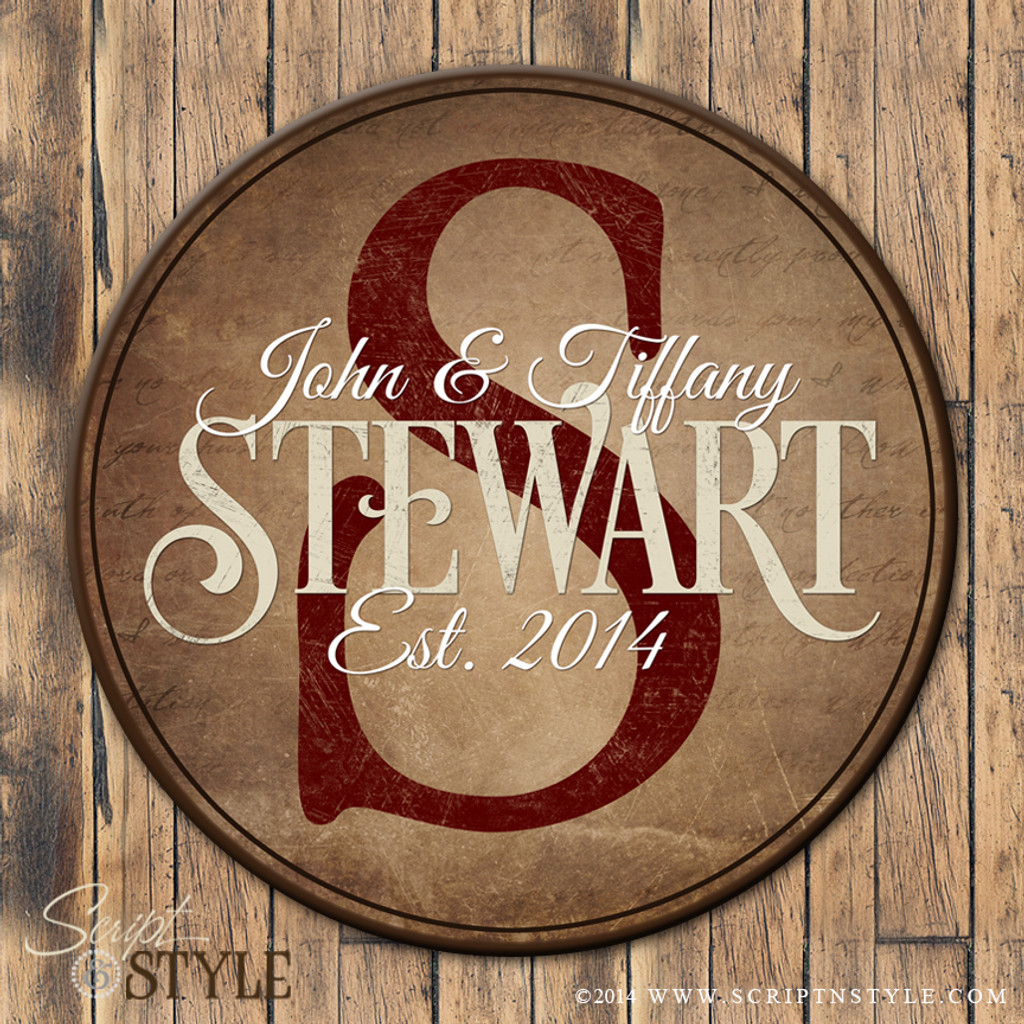 Round personalized family established sign/Wine