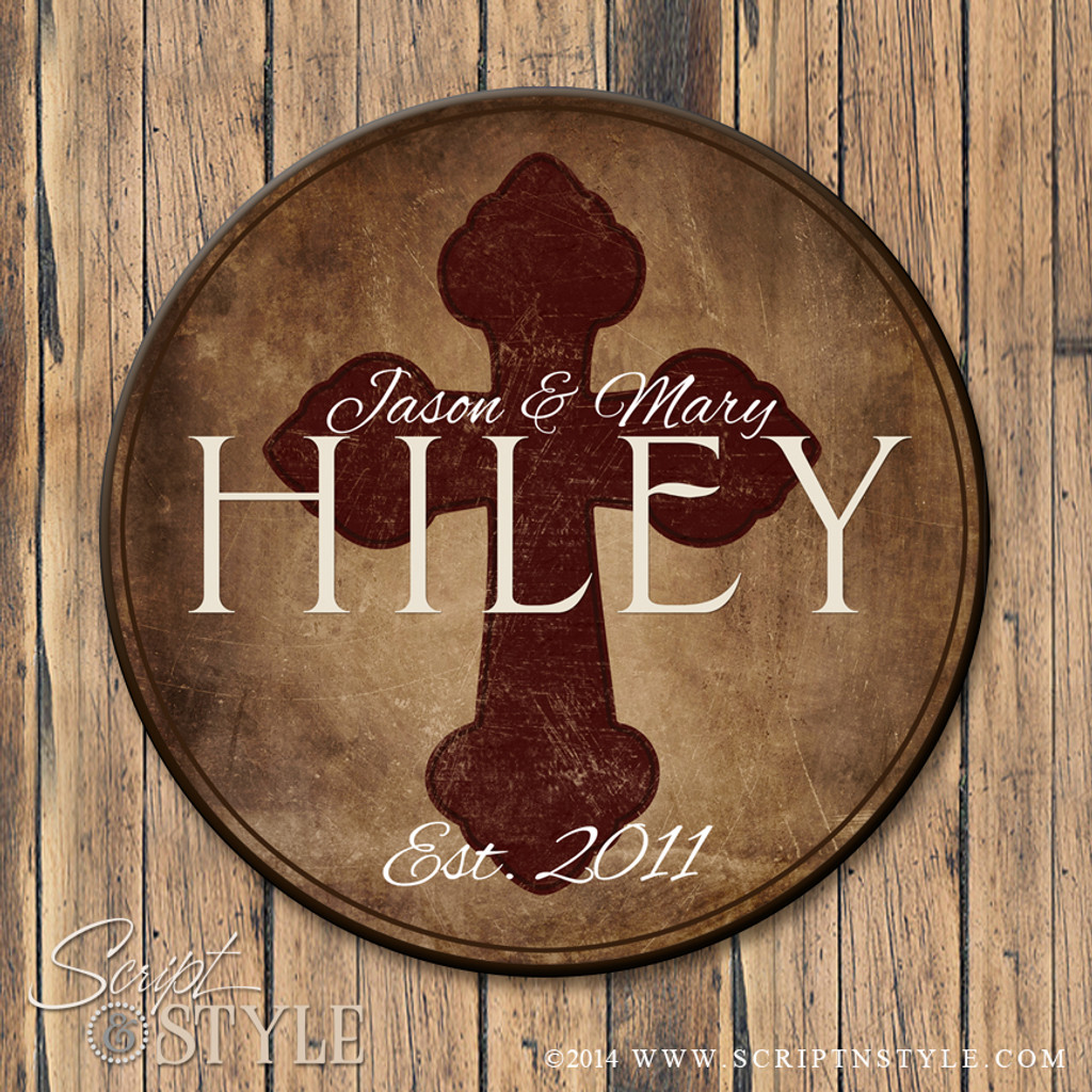 Family Name Sign with Cross-Brown/Wine