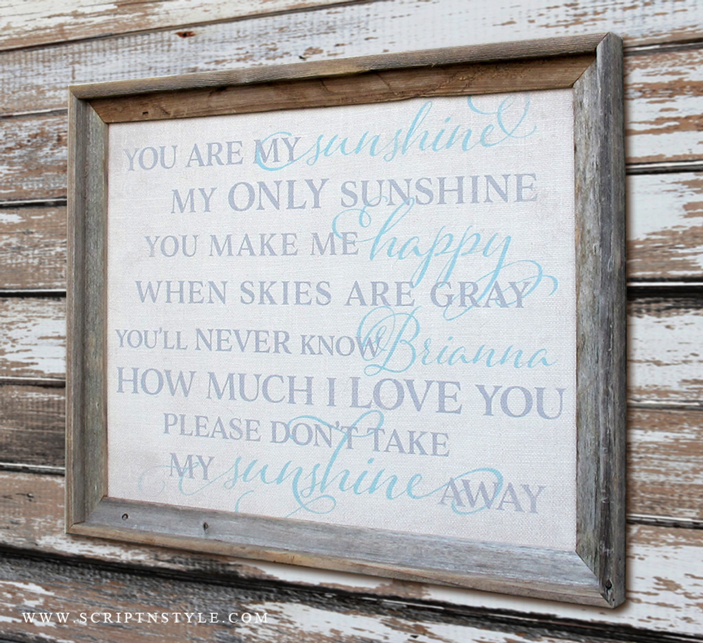 Personalized You Are My Sunshine Burlap Sign