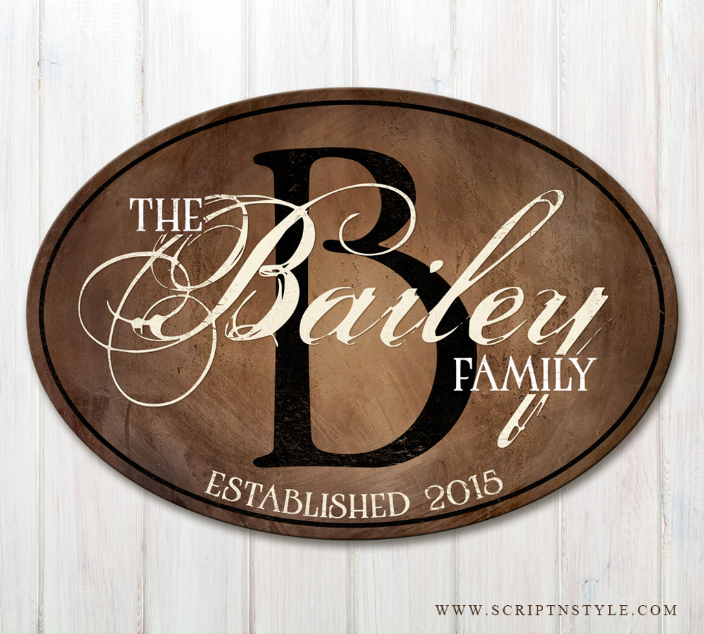 da503f22d00b2 Oval Wood Family Sign with Established Date