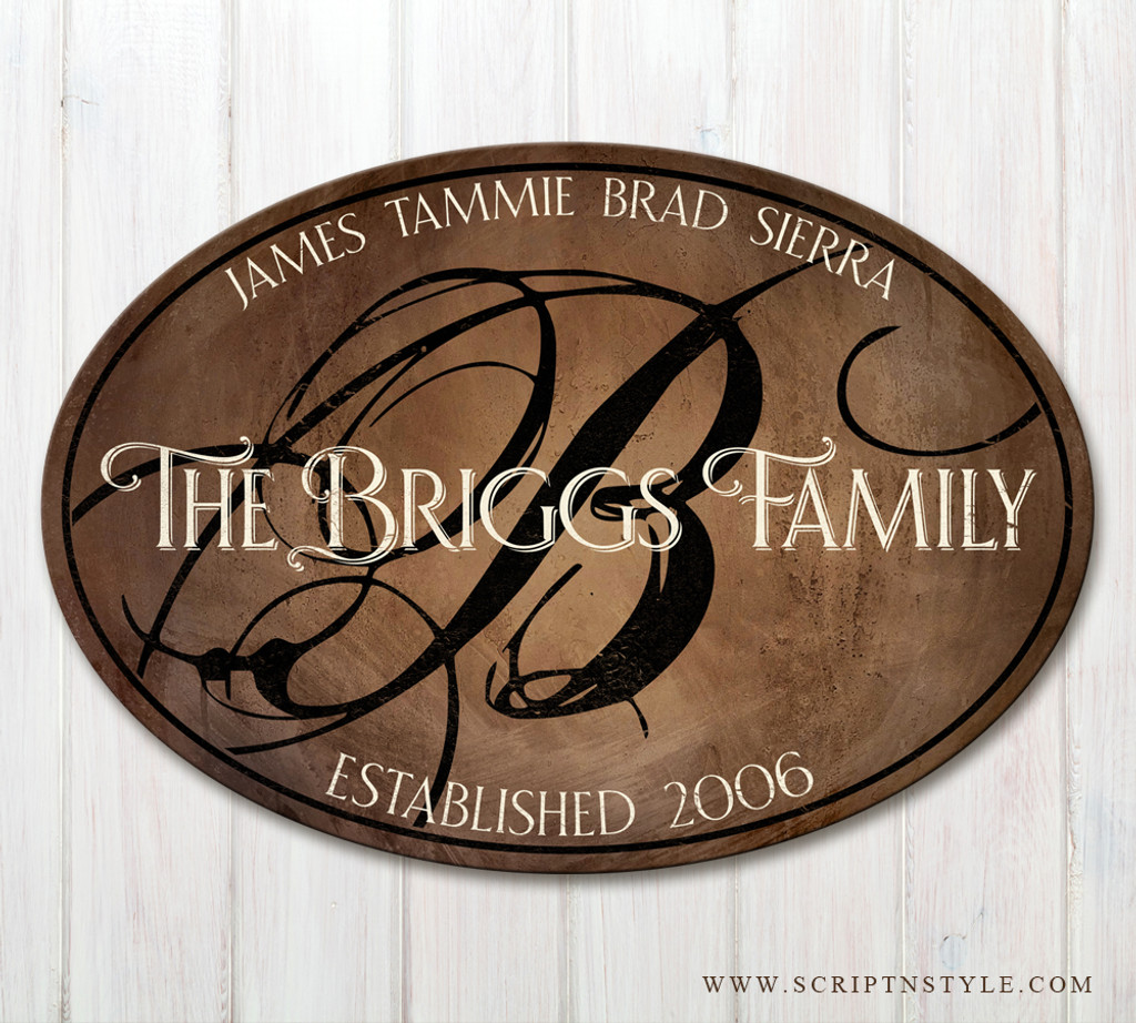 wooden family established sign