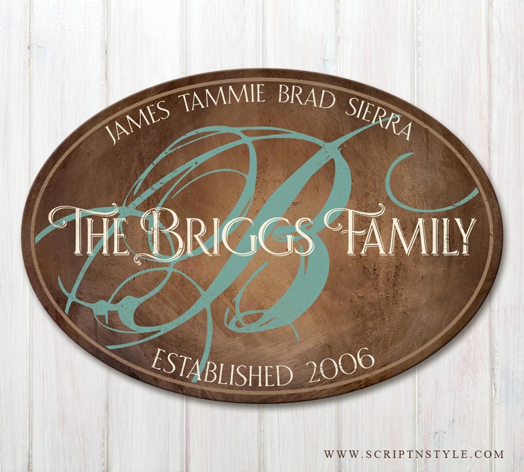 wood family established plaque