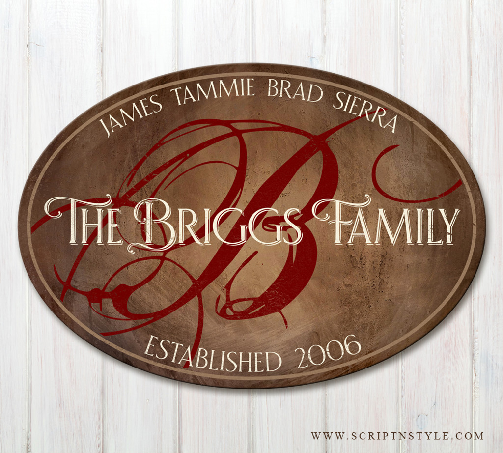 oval wood family name plaque