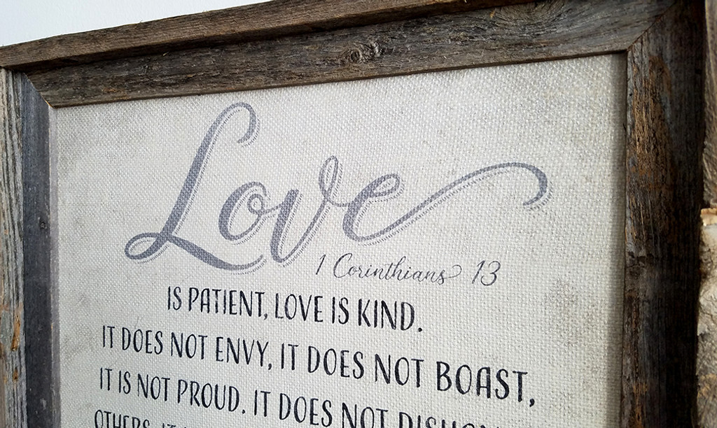 Personalized 1 Corinthians 13 Burlap Sign