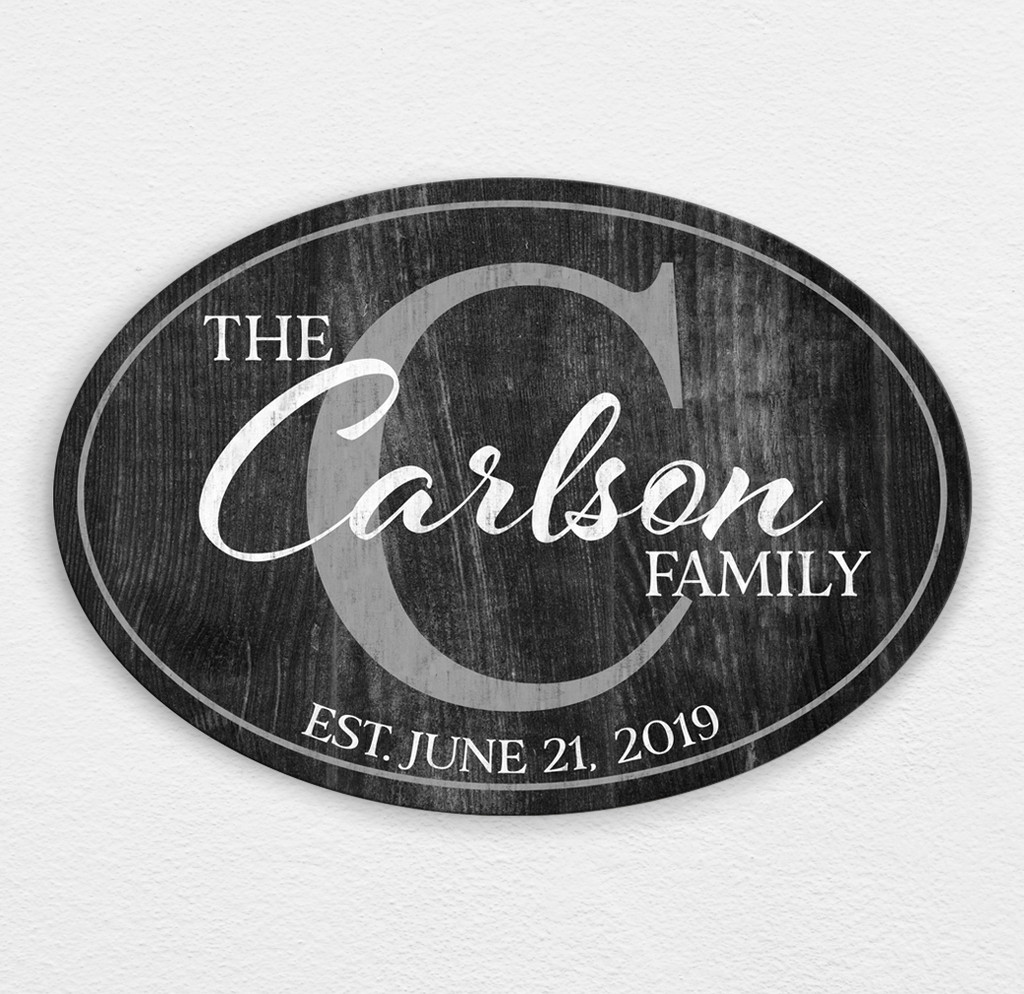 wooden family name plaque