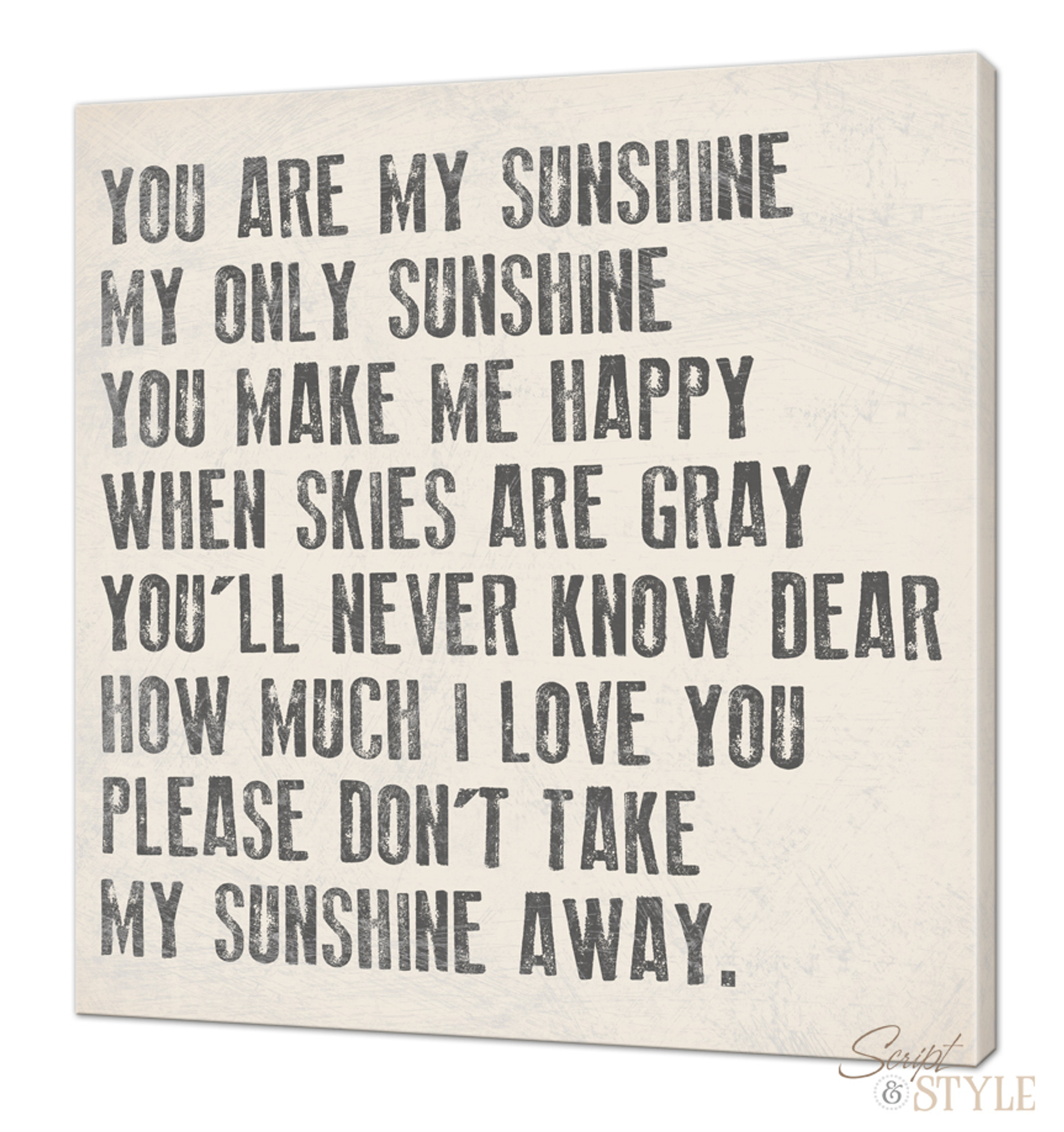 You Are My Sunshine My Only Sunshine Canvas Wall Art