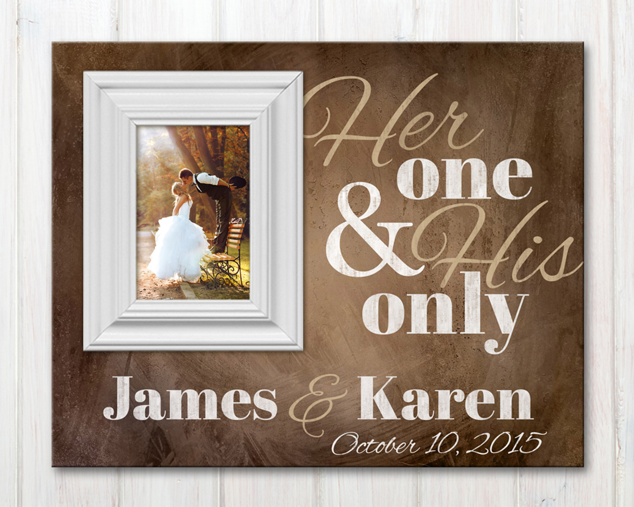 Personalized Picture Frame With Established Date Her One And His Only