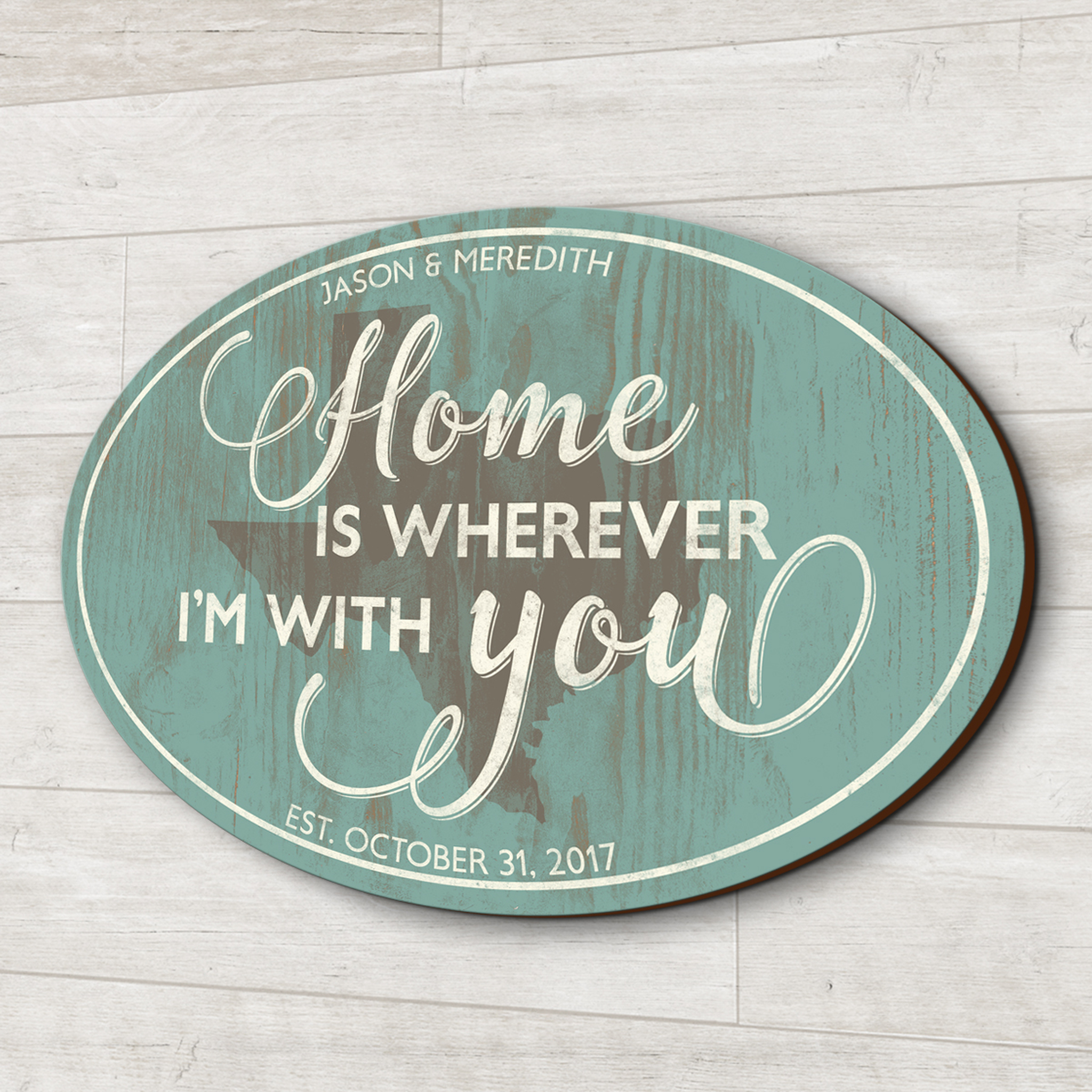 Home Is Wherever Im With You Wooden Family Sign