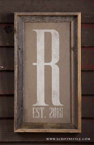 burlap monogram sign