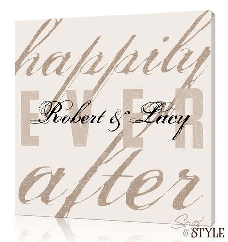 Personalized Happily Ever After Canvas Wall Art, Cream