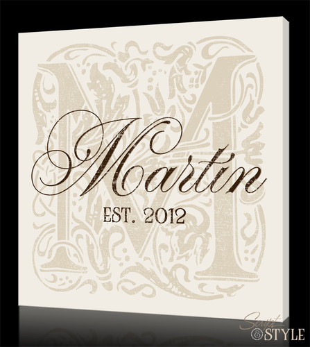 Personalized Monogram Canvas Art, Cream