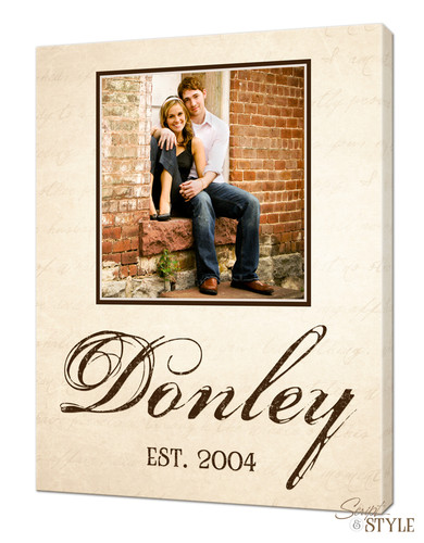 Personalized family name canvas with photo, Cream