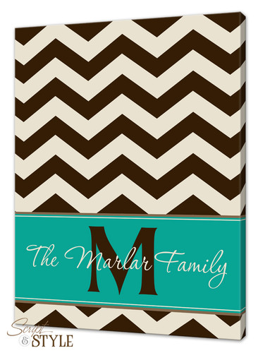 Personalized chevron canvas art, Brown/Cream