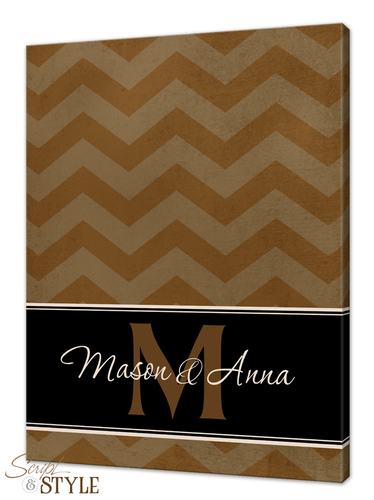 Personalized chevron canvas art, Tan/Black