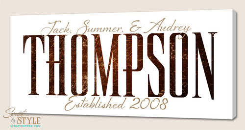 Personalized family name canvas, White